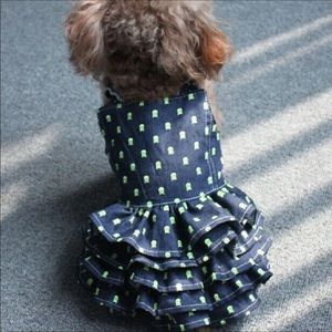 Other - Pet- Adorable Skull and Bone Blue Denim Pet Dress